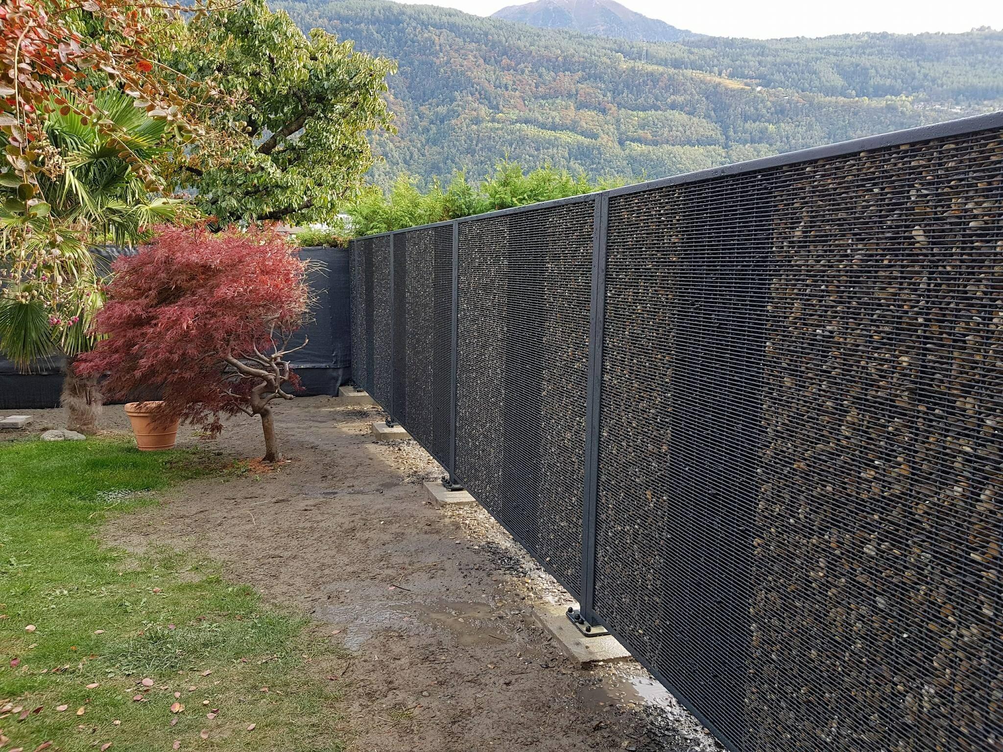 Cloture Grillage Cailloux clôture minérale: photos, dimensions et prix | stonefence